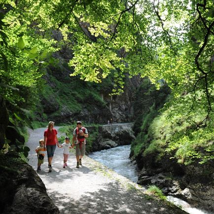 Hiking across the wildly romantic gorge in Kundl