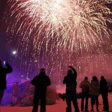ALPENIGLU mountain festival with fireworks
