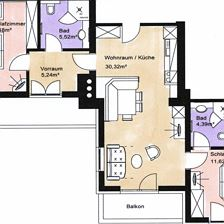 BICHLALM/2 bedrooms/living r., shower/WC