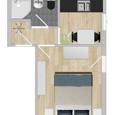 Appartement, bad, WC, 1 slaapkamer