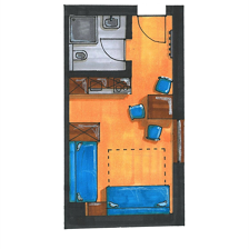 Apartment, shower, toilet, living room/bedroom